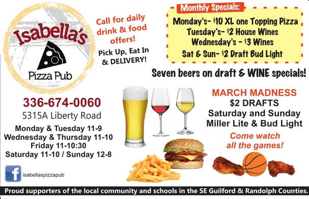 Isabella's Pizza Pub - 5315 Liberty Road, Suite A, Greensboro, NC 27406 - (336) 674-0060